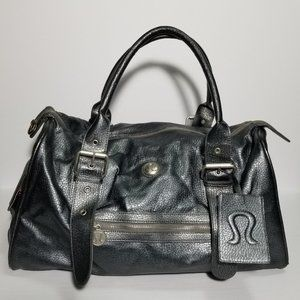 Lululemon Metallic Gray Faux Leather Podium Bag